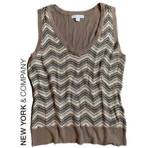 New York & Company Chevron Sweater Vest Top